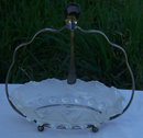Glass Condiment Bowl with Silver Holder and Spoon