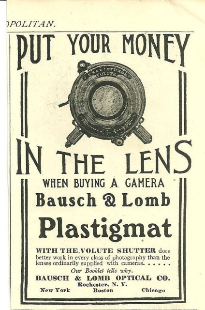 Bausch and Lomb Camera Lens 1904 Cosmopiltan Ad