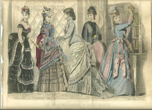 Colored Les Modes Parisiennes Fashion Print April 1876