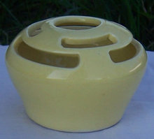 Vintage Bright Yellow Camark Pottery Flower Frog