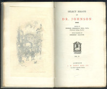 Select Essays of Dr. Johnson 1889 Volume II Temple Lib