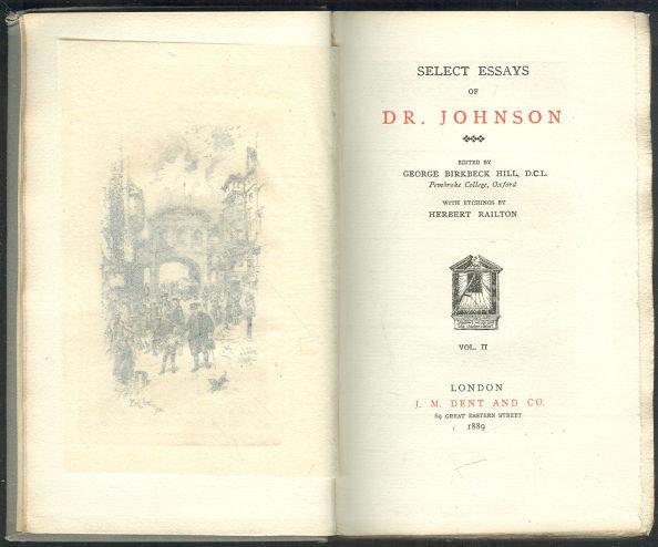Select Essays of Dr. Johnson 1889 Volume II Temple Lib