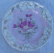 Decorative Plate with Pink Flower and Pierced Edge