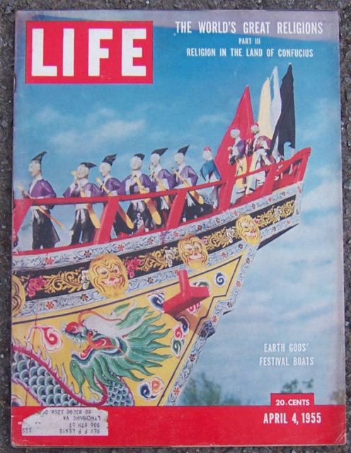 Life Magazine April 4, 1955 Earth Gods' Festival Boat