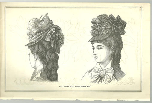 Grey Straw Hat and Black Straw Hat 1876 Peterson's Mag