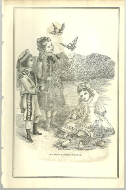 Children's Fashions for June from 1876 Peterson's Magazine