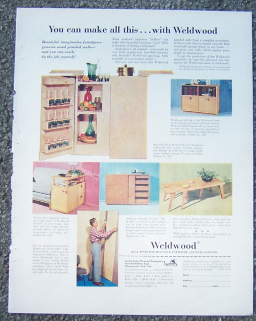 Weldwood Furniture Wood 1953 Magazine Advertisement