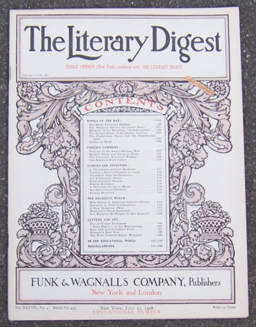 Literary Digest July 25, 1908 Universal Revolt of Women