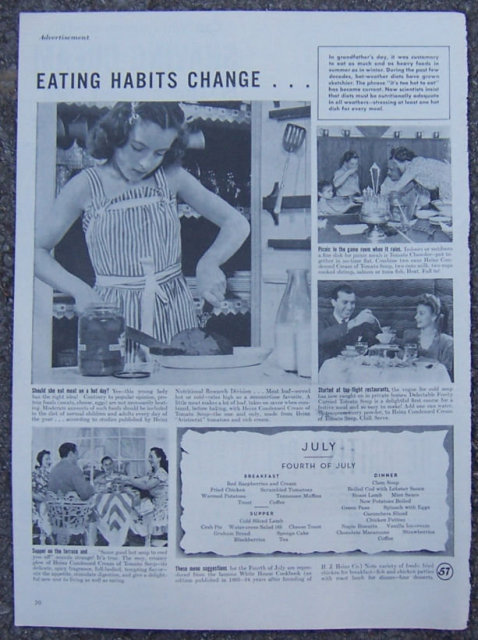 1945 Heinz Summer Menu Life Magazine Advertisement
