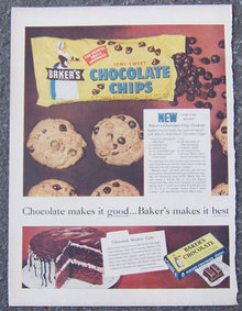 1955 Baker's Chocolate Chips Advertisement with Recipes