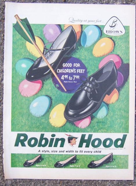 1959 Robin Hood Easter Shoes Magazine Advertisement