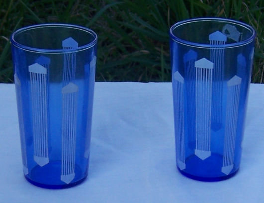 Pair of Deco Cobalt Blue Juice Glasses with White Lines