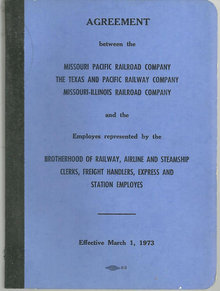 Missouri Pacific Railroad Employee Agreement 1973