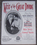 West of the Great Divide 1924 Sheet Music Alice Terry