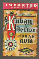 Vintage Kuban De Luxe Imported Cuban Rum Label