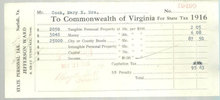 1916 State Personal Tax Bill to the Commonwealth of VA