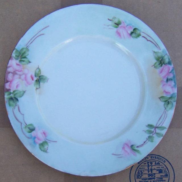 Vintage Handpainted Pink Roses Germany Plate