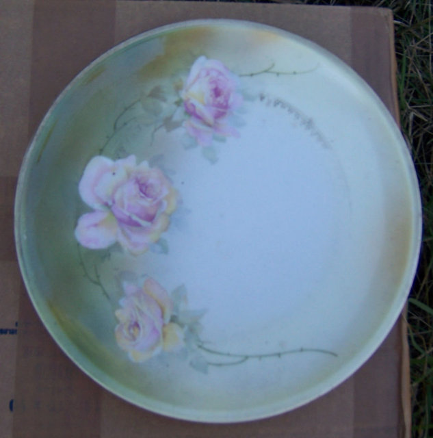 Vintage Handpainted Pink Roses Three Crown Plate