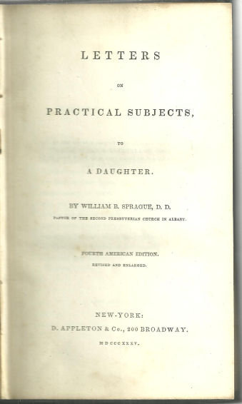 Letters on Practical Subjects to a Daughter 1835