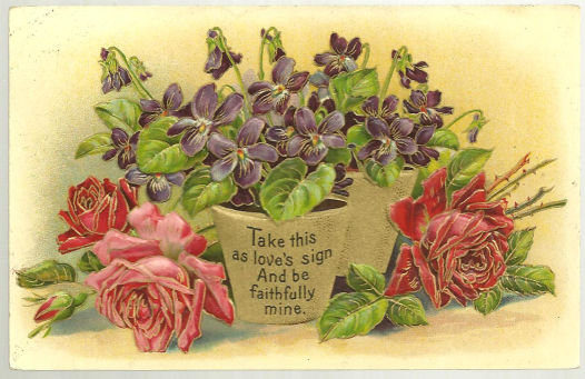 Victorian Flower Postcard with Love Poem 1911