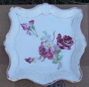 Vintage China Square Dresser Tray with Red Roses