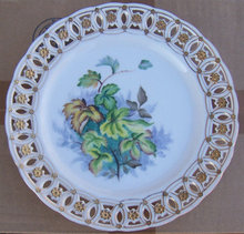 Decorative Plate with Green Leaves and Pierced Edge