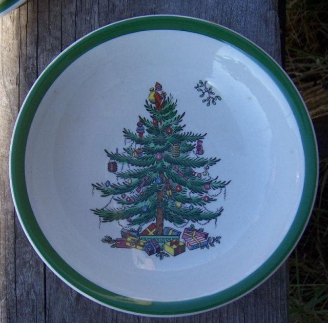 Vintage Spode England Christmas Tree Flat Soup Bowl