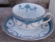 Flow Blue New Wharf Pottery Venice Cup and Saucer