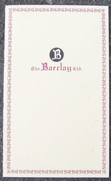 Vintage Menu From The Barclay Ltd. Restuarant