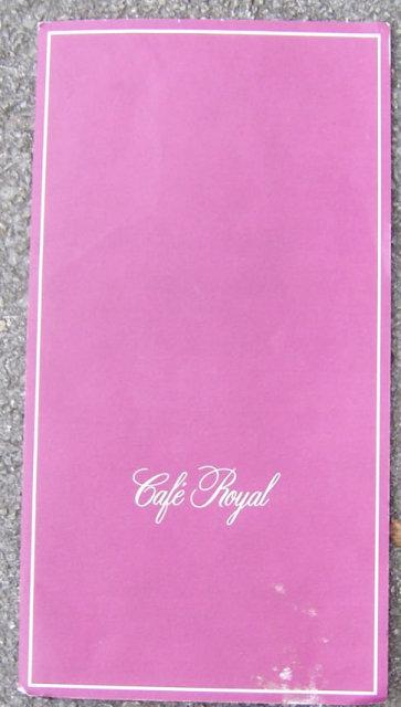 Vintage Menu From Cafe Royal, Dallas, Texas
