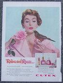 1959 Cutex Pink Lipstick and Nail Polish Life Mag Advertisement