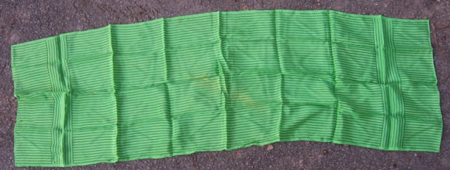 Vintage Echo Long Scarf Bright Green with Navy Stripes