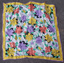 Vintage Bill Blass Square Scarf with Bright Flowers