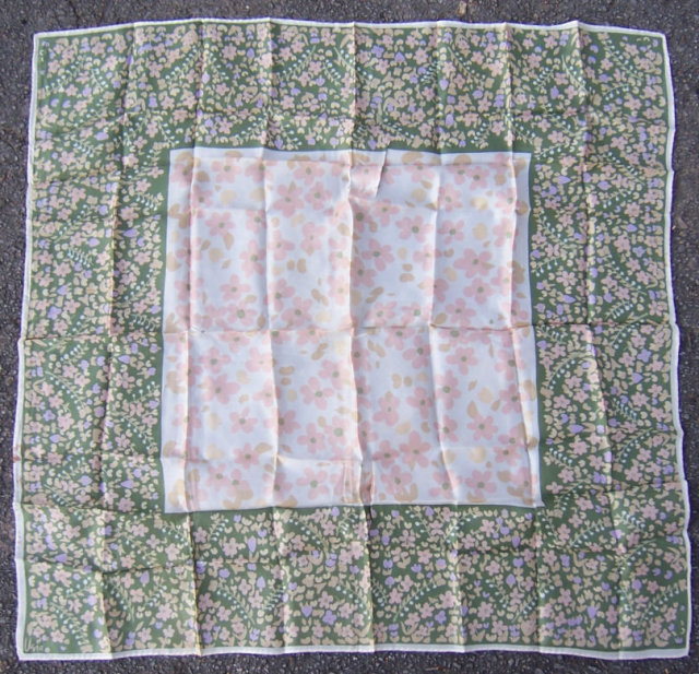Vintage Vera Square Scarf with Small Pink Flowers