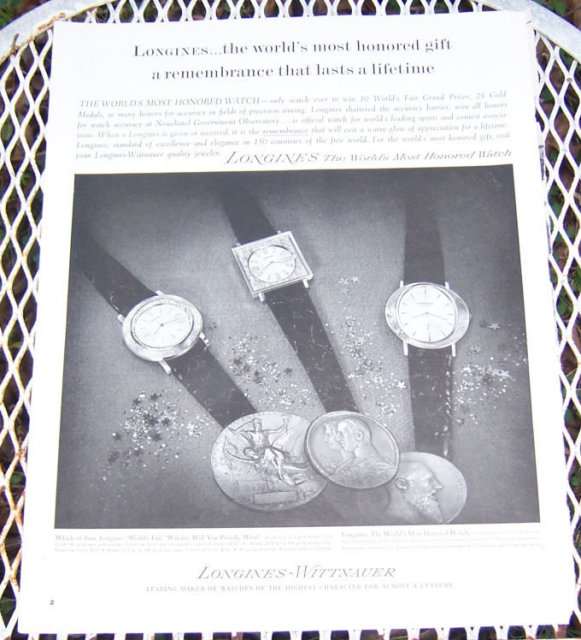 1963 Longines Watch Christmas Magazine Advertisement