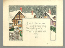 Vintage Old Timey Merry Christmas Card with Snowy Town