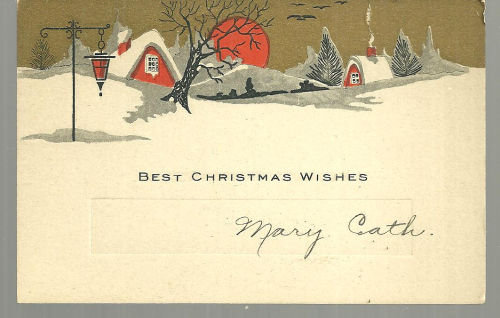 Vintage Best Christmas Wishes Card with Snowy Town