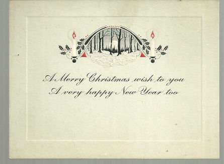 Vintage Merry Christmas Card with Candles and Snow