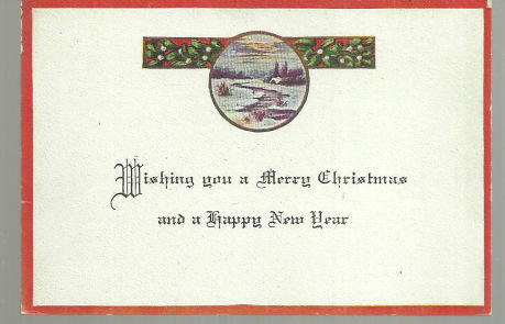 Vintage Merry Christmas Card with Snowy Landscape