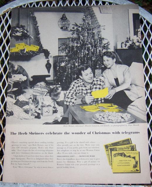 1956 Christmas Telegrams Life Magazine Advertisement