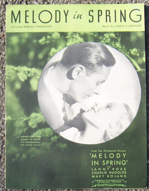 Melody in Spring Charlie Ruggles Movie 1934 Sheet Music