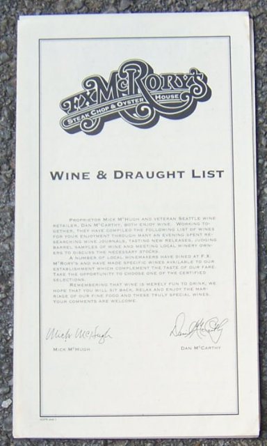 Vintage Wine and Draught Menu From FX McRory's Seattle, Washington