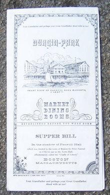 Vintage Menu From Durgin Park, Boston, Massachusetts