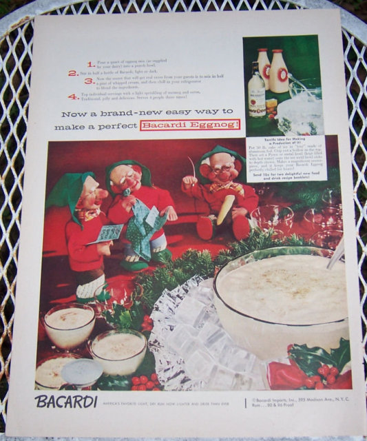 1956 Bacardi Eggnog Magazine Christmas Advertisement