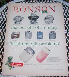 1956 Ronson Life Magazine Christmas Advertisement