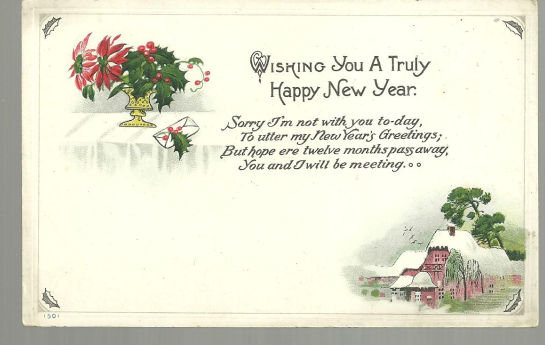 Wishing You a Truly Happy New Year Postcard with Snow