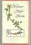 Victorian New Year Greeting Card with Holly and Snow