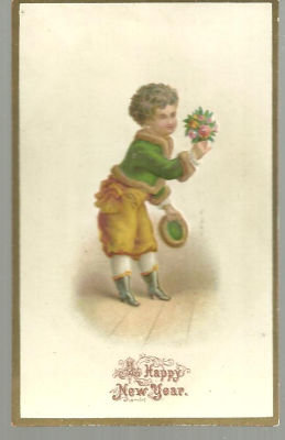 Victorian New Year Card with Small Boy with Bouquet