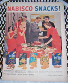 1956 Nabisco Snacks for Holidays Magazine Advertisment