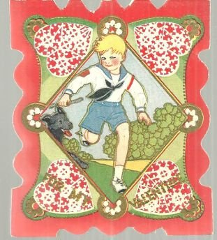 Victorian Valentine with Boy Playing with Dog on Front